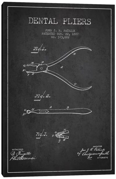 Dental Pliers Charcoal Patent Blueprint Canvas Art Print