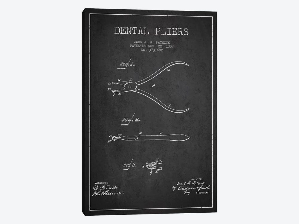 Dental Pliers Charcoal Patent Blueprint by Aged Pixel 1-piece Canvas Art Print