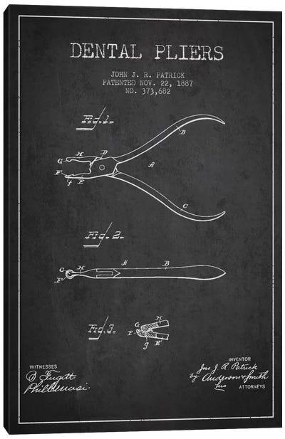Dental Pliers Charcoal Patent Blueprint Canvas Art Print