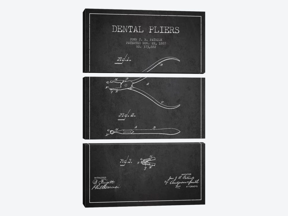 Dental Pliers Charcoal Patent Blueprint by Aged Pixel 3-piece Canvas Art Print