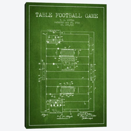 Table Football Green Patent Blueprint Canvas Print #ADP177} by Aged Pixel Canvas Art