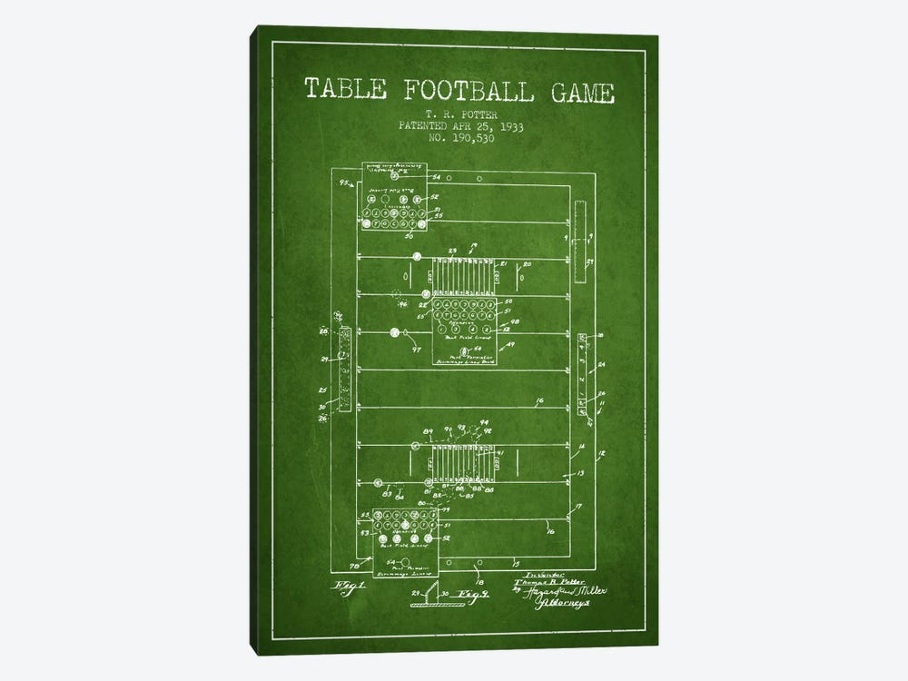 Table Football Green Patent Blueprint by Aged Pixel 1-piece Canvas Wall Art
