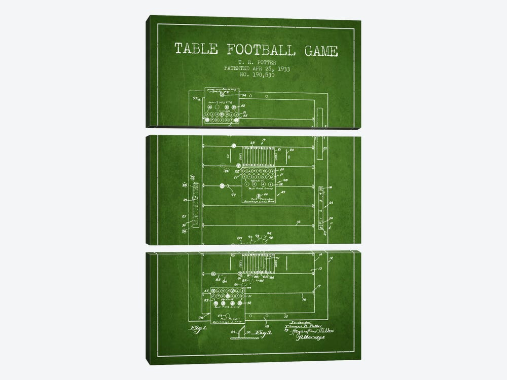 Table Football Green Patent Blueprint by Aged Pixel 3-piece Canvas Artwork