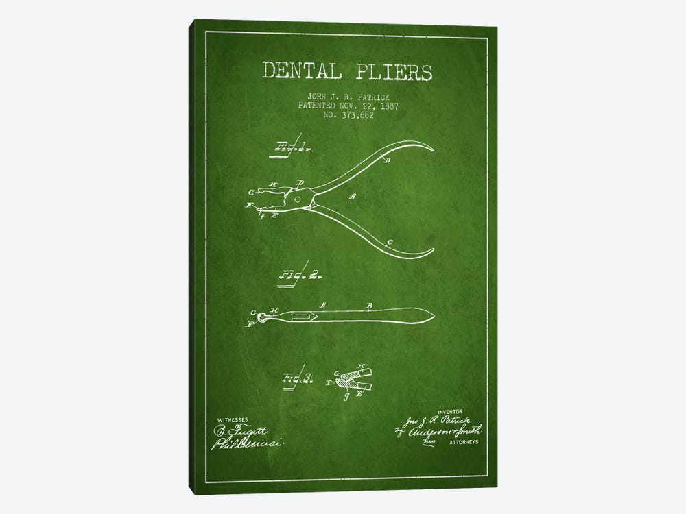 Dental Pliers Green Patent Blueprint by Aged Pixel 1-piece Canvas Art Print