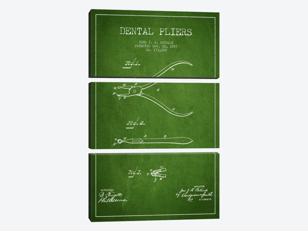 Dental Pliers Green Patent Blueprint by Aged Pixel 3-piece Canvas Print