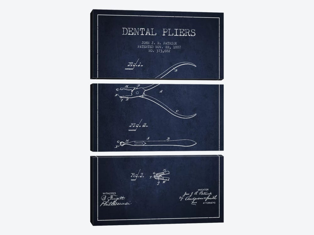 Dental Pliers Navy Blue Patent Blueprint by Aged Pixel 3-piece Canvas Art