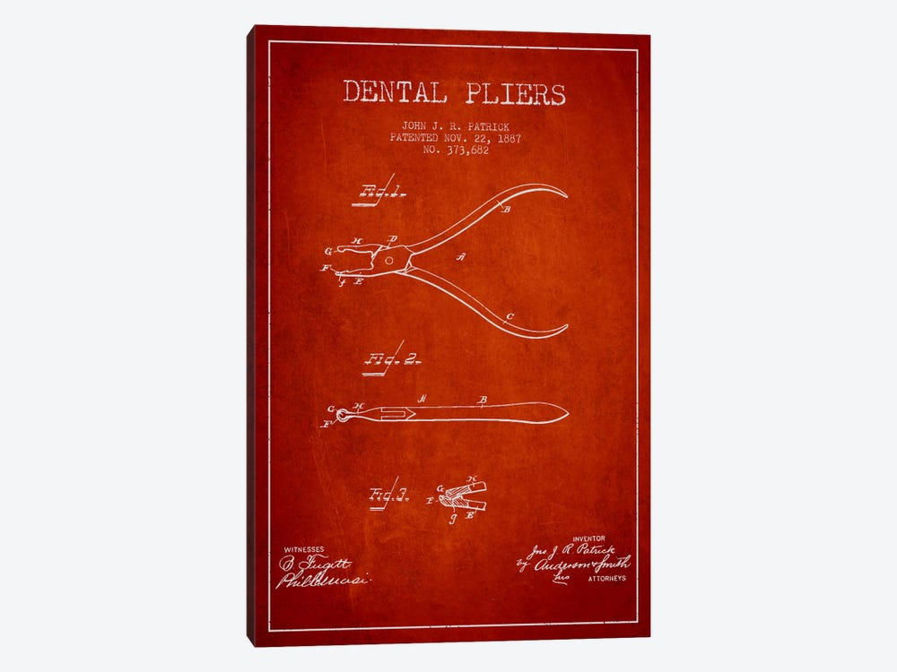 Dental Pliers Red Patent Blueprint by Aged Pixel 1-piece Art Print