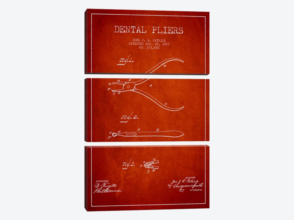 Dental Pliers Red Patent Blueprint by Aged Pixel 3-piece Art Print