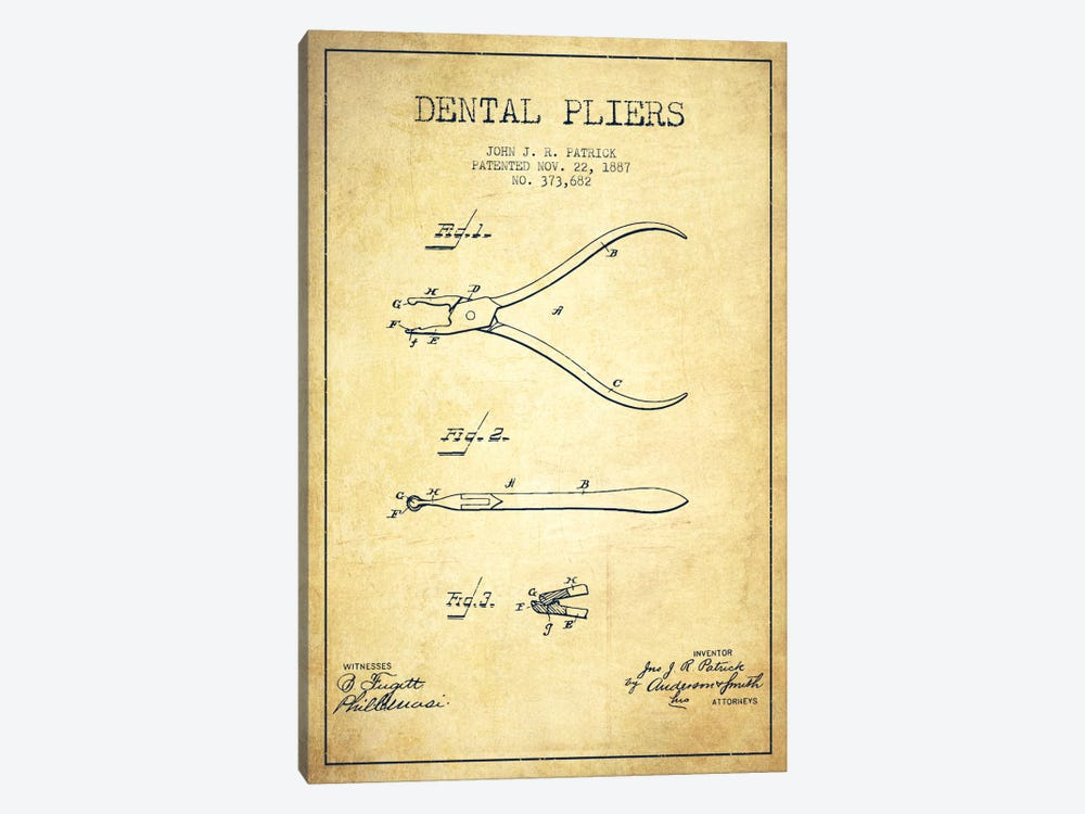 Dental Pliers Vintage Patent Blueprint by Aged Pixel 1-piece Canvas Wall Art