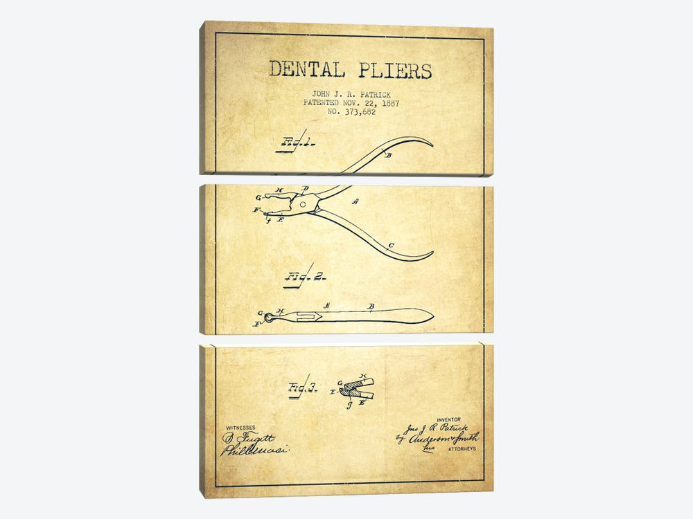 Dental Pliers Vintage Patent Blueprint by Aged Pixel 3-piece Canvas Art