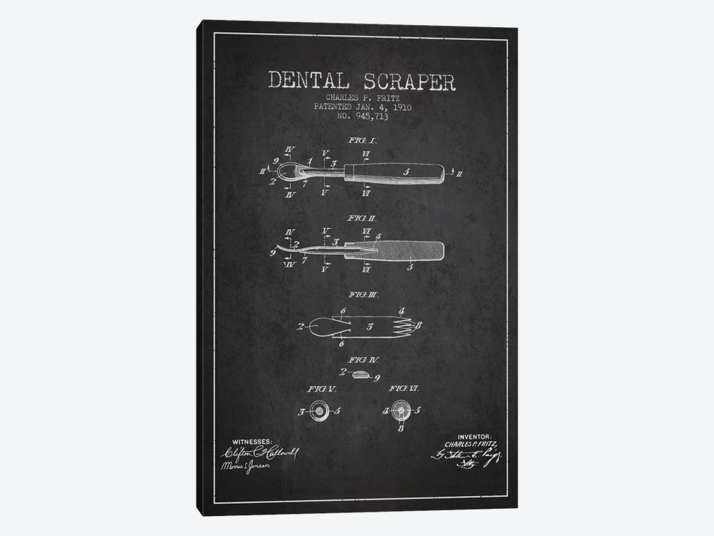 Dental Scraper Charcoal Patent Blueprint by Aged Pixel 1-piece Art Print