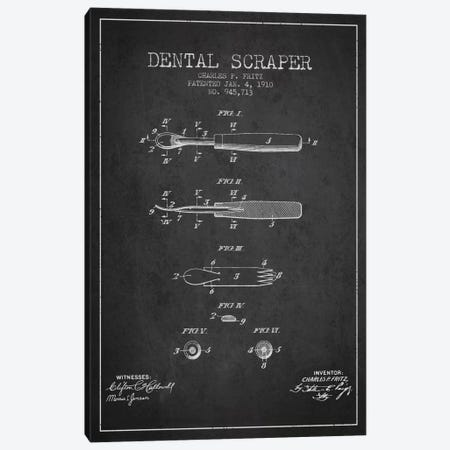 Dental Scraper Charcoal Patent Blueprint Canvas Print #ADP1784} by Aged Pixel Canvas Wall Art