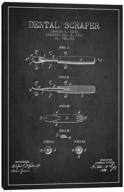 Dental Scraper Charcoal Patent Blueprint Canvas Art Print