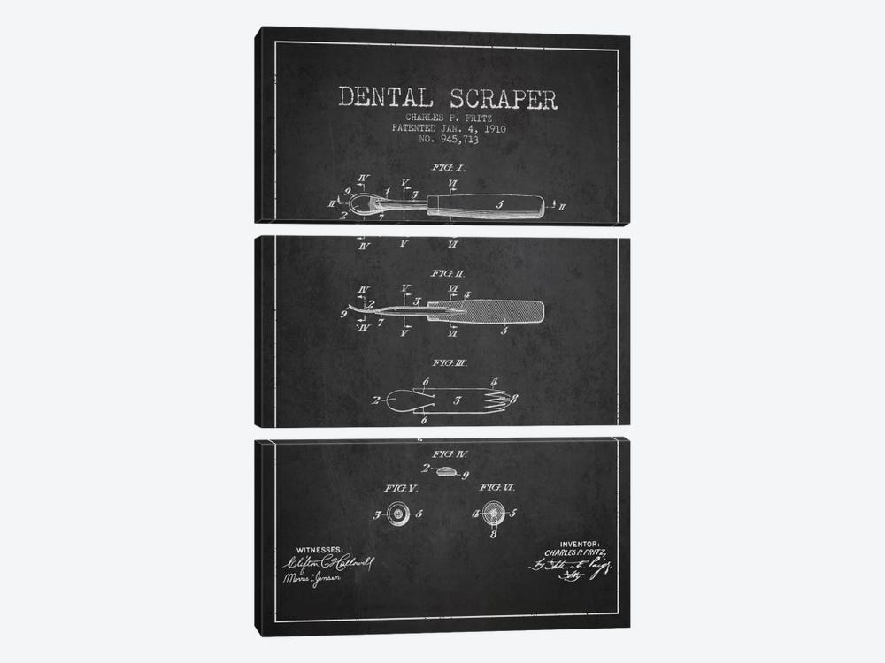 Dental Scraper Charcoal Patent Blueprint by Aged Pixel 3-piece Art Print