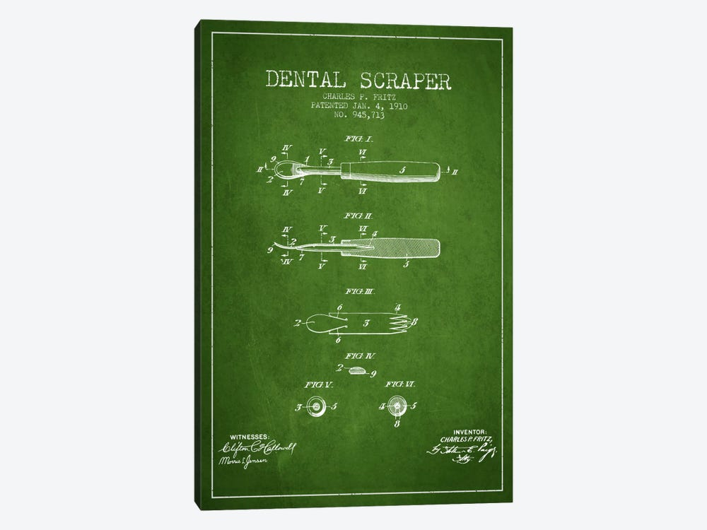 Dental Scraper Green Patent Blueprint by Aged Pixel 1-piece Canvas Art