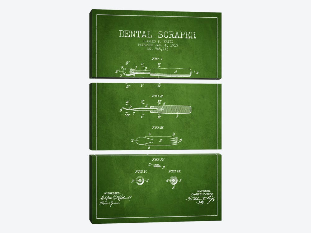 Dental Scraper Green Patent Blueprint by Aged Pixel 3-piece Canvas Art