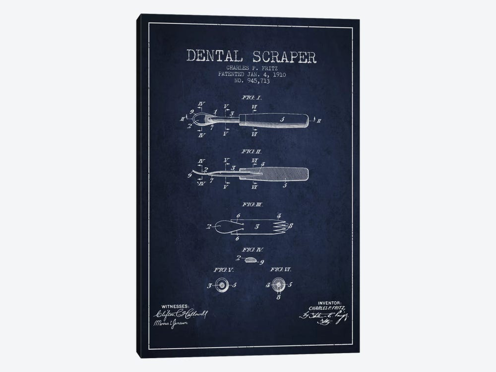 Dental Scraper Navy Blue Patent Blueprint by Aged Pixel 1-piece Canvas Art Print
