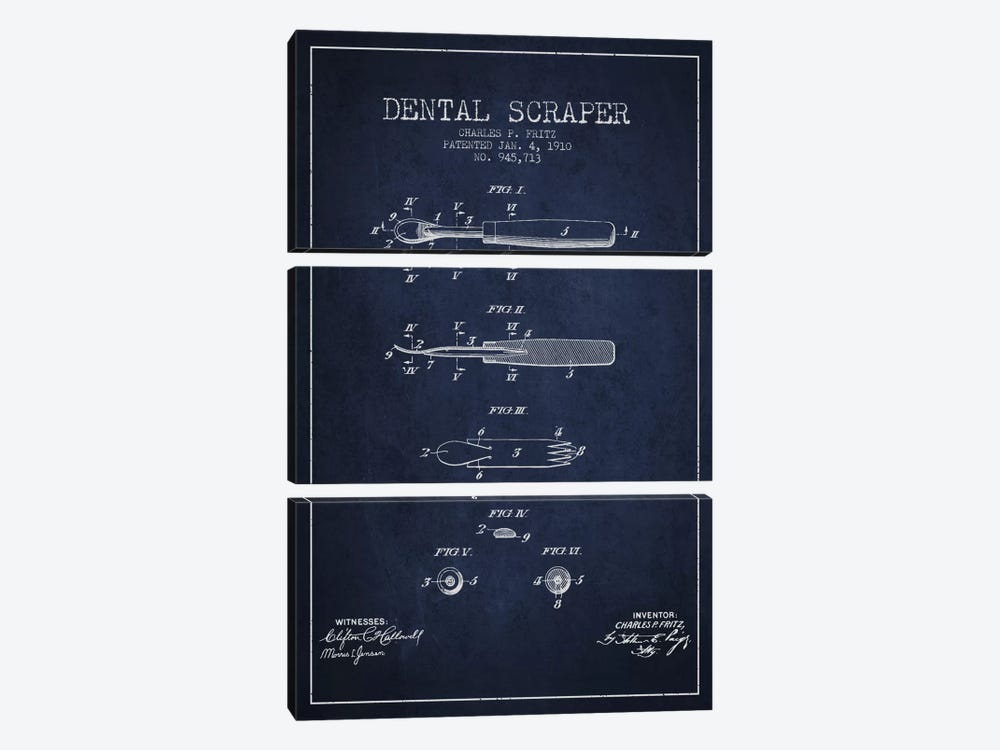 Dental Scraper Navy Blue Patent Blueprint by Aged Pixel 3-piece Art Print