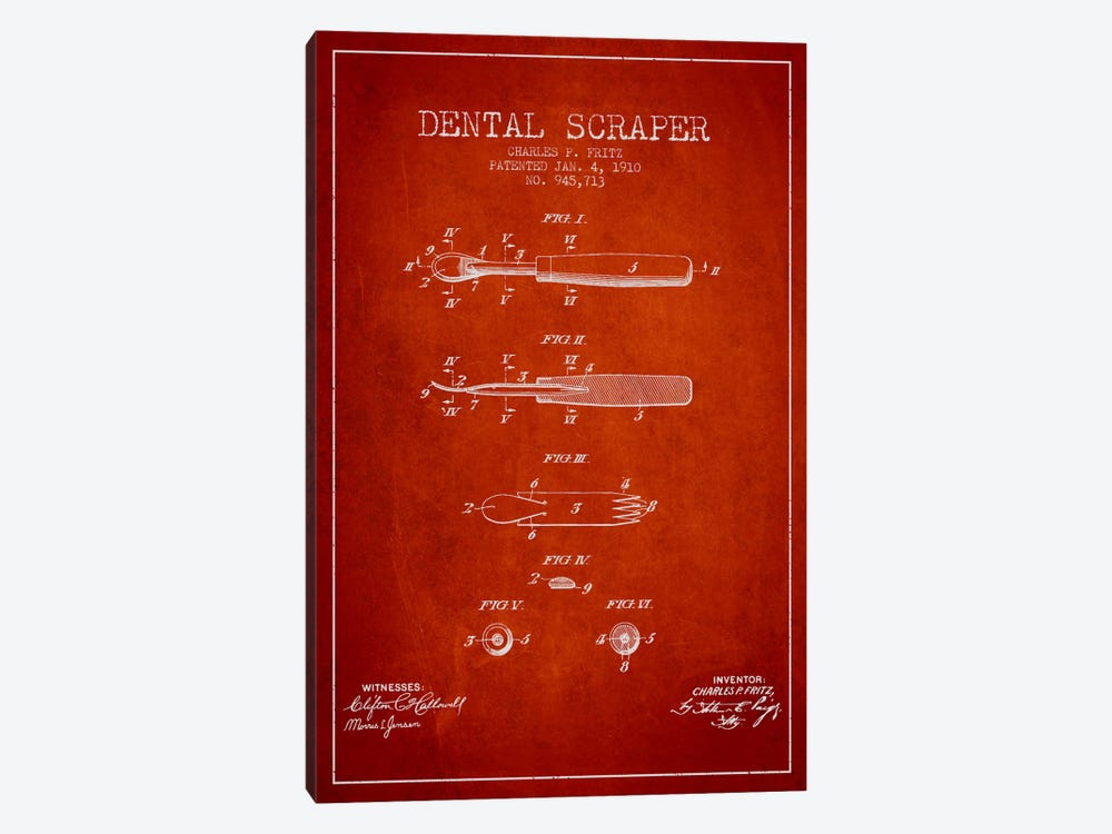 Dental Scraper Red Patent Blueprint by Aged Pixel 1-piece Canvas Art