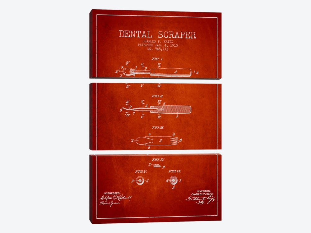 Dental Scraper Red Patent Blueprint by Aged Pixel 3-piece Canvas Artwork