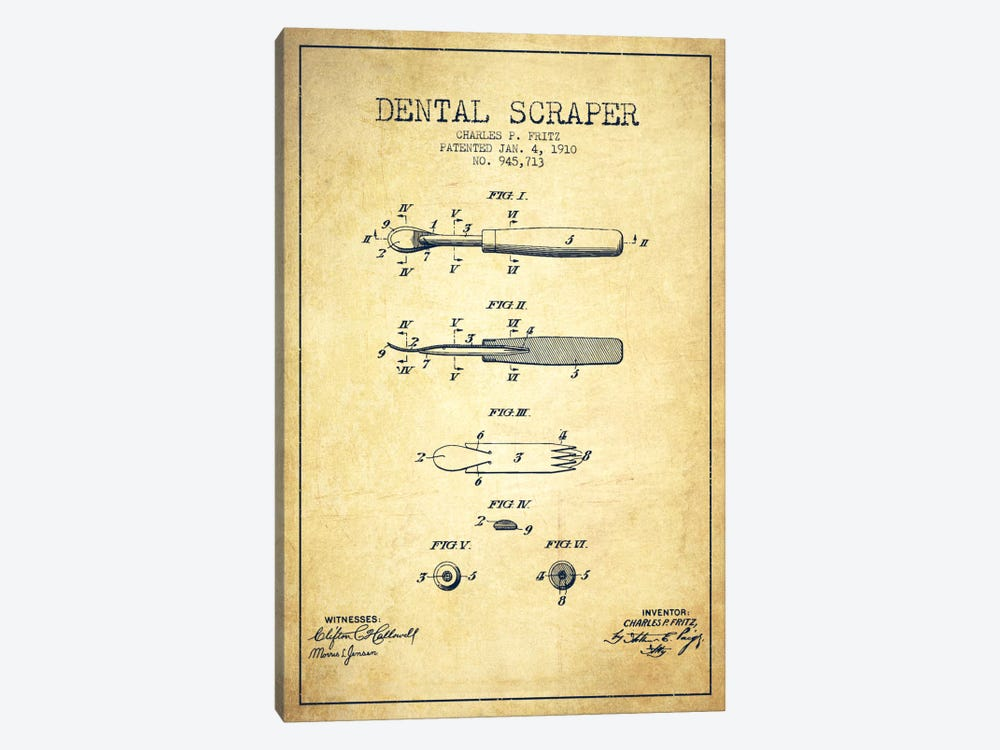 Dental Scraper Vintage Patent Blueprint by Aged Pixel 1-piece Canvas Print