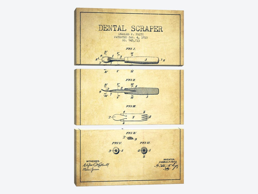 Dental Scraper Vintage Patent Blueprint by Aged Pixel 3-piece Canvas Print