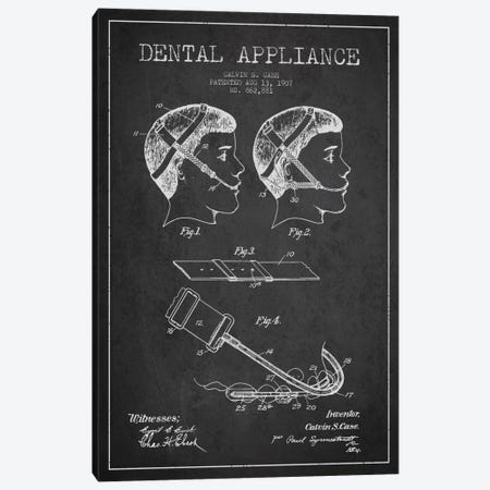 Dental Appliance Charcoal Patent Blueprint Canvas Print #ADP1789} by Aged Pixel Canvas Print