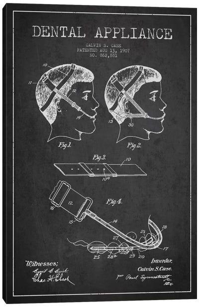 Dental Appliance Charcoal Patent Blueprint Canvas Art Print