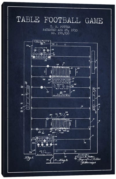 Table Football Navy Blue Patent Blueprint Canvas Print #ADP178