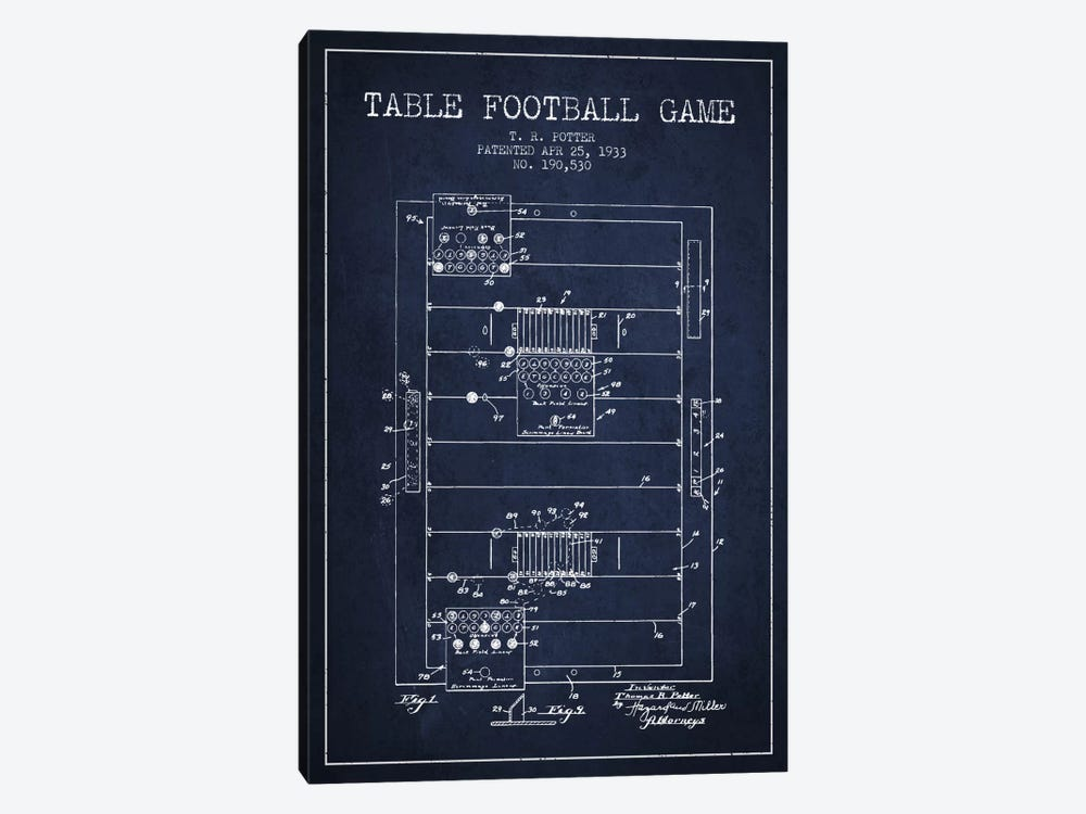 Table Football Navy Blue Patent Blueprint by Aged Pixel 1-piece Canvas Art Print