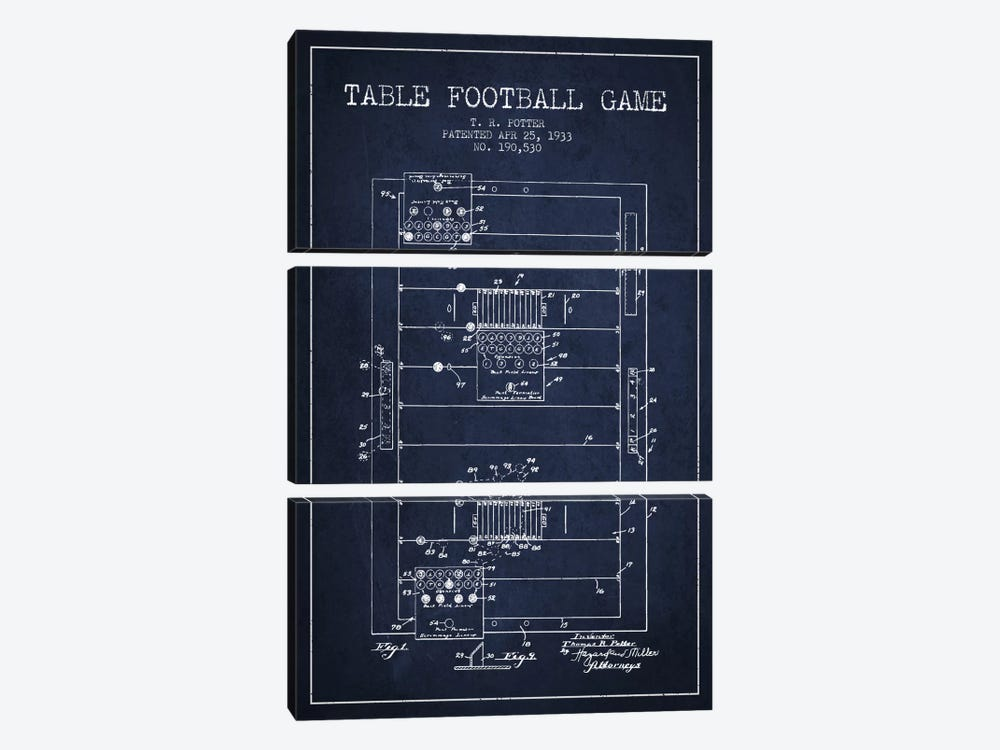 Table Football Navy Blue Patent Blueprint by Aged Pixel 3-piece Canvas Print
