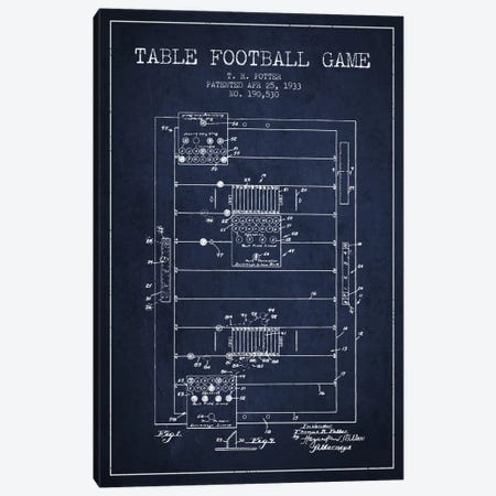 Table Football Navy Blue Patent Blueprint Canvas Print #ADP178} by Aged Pixel Art Print