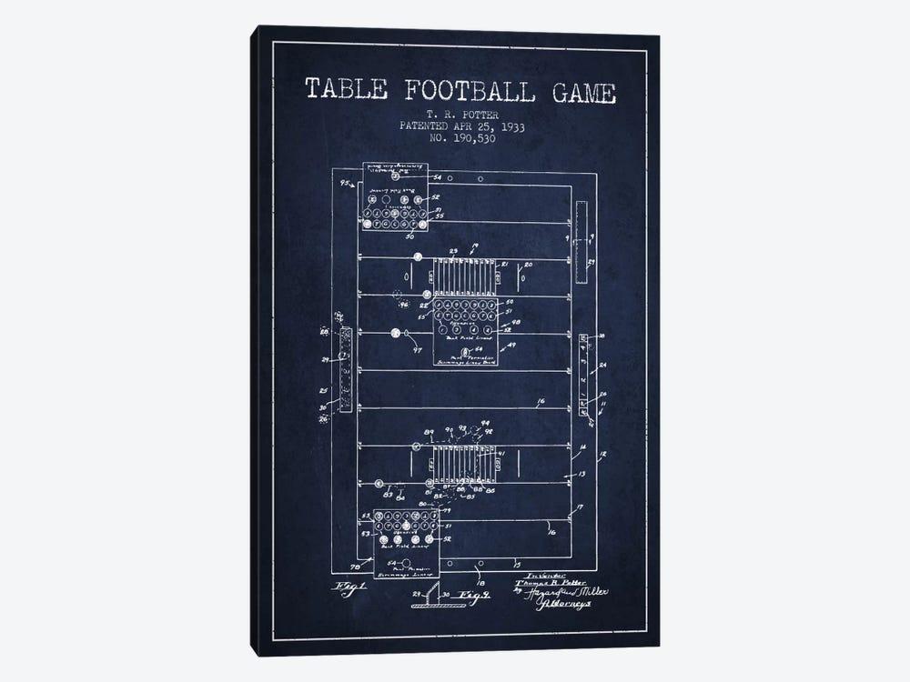Table Football Navy Blue Patent Blueprint by Aged Pixel 1-piece Canvas Art Print