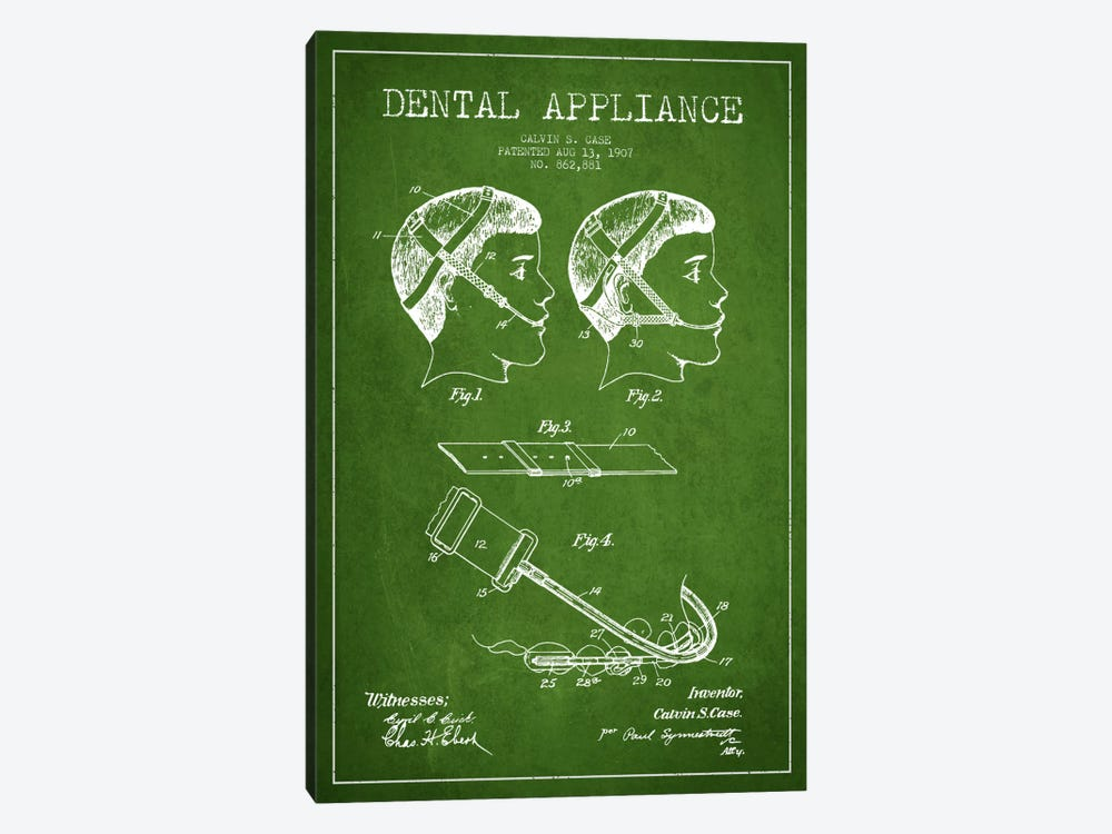 Dental Appliance Green Patent Blueprint by Aged Pixel 1-piece Canvas Art