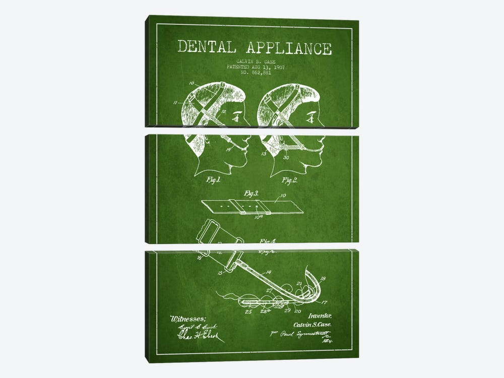Dental Appliance Green Patent Blueprint by Aged Pixel 3-piece Canvas Artwork