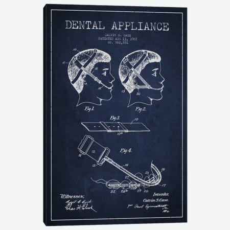 Dental Appliance Navy Blue Patent Blueprint Canvas Print #ADP1791} by Aged Pixel Canvas Wall Art