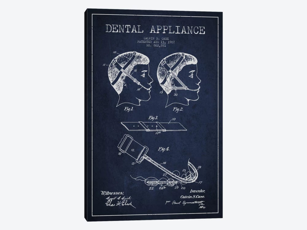 Dental Appliance Navy Blue Patent Blueprint by Aged Pixel 1-piece Canvas Art Print