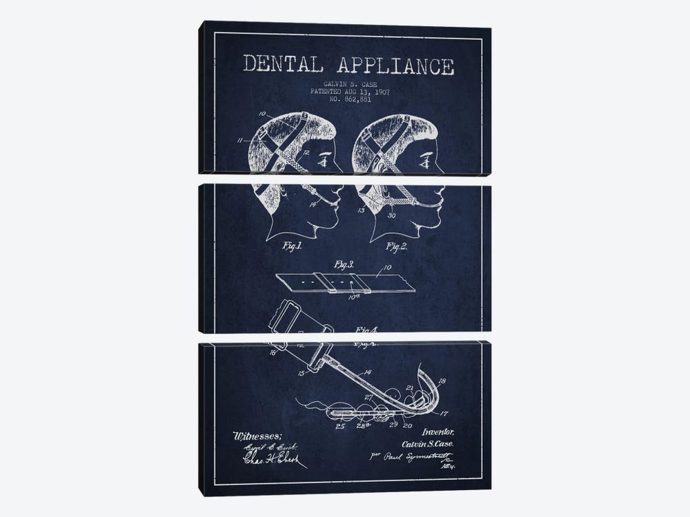 Dental Appliance Navy Blue Patent Blueprint by Aged Pixel 3-piece Canvas Print