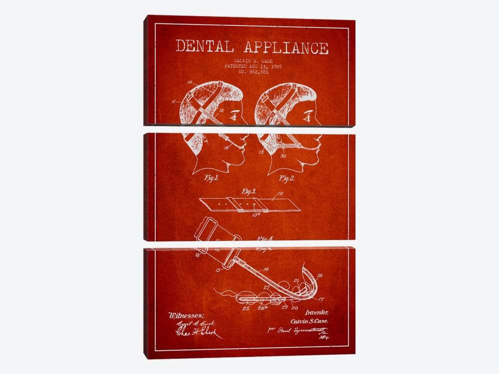 Dental Appliance Red Patent Blueprint 3-piece Canvas Artwork
