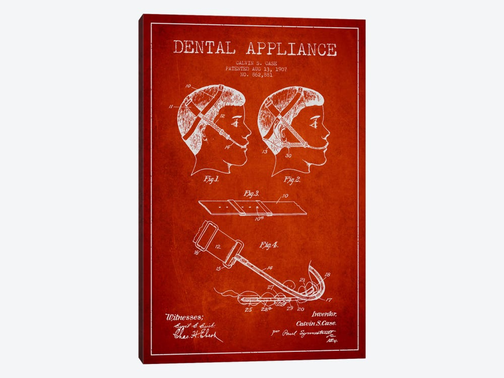 Dental Appliance Red Patent Blueprint by Aged Pixel 1-piece Canvas Art