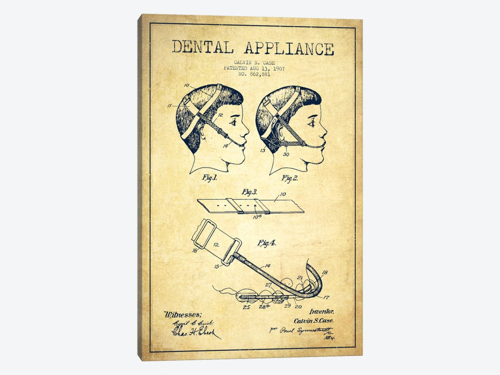 Dental Appliance Vintage Patent Blueprint by Aged Pixel 1-piece Art Print
