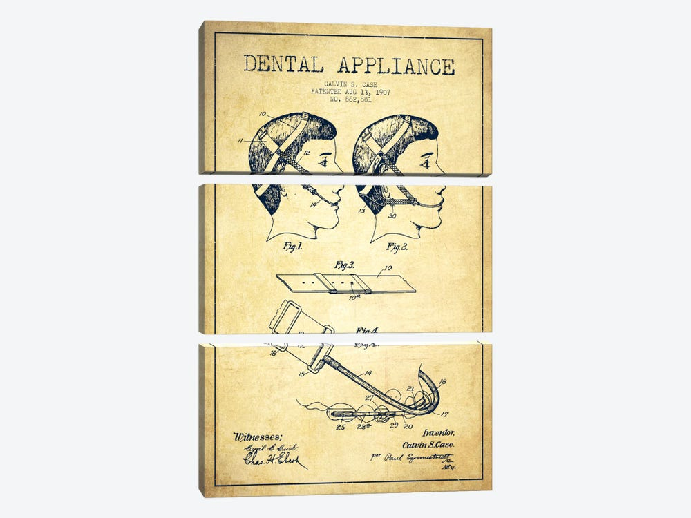 Dental Appliance Vintage Patent Blueprint by Aged Pixel 3-piece Canvas Art Print