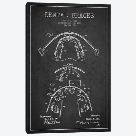 Dental Braces Charcoal Patent Blueprint Canvas Print #ADP1794} by Aged Pixel Art Print