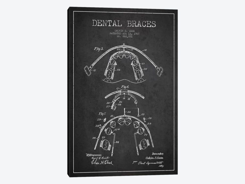 Dental Braces Charcoal Patent Blueprint by Aged Pixel 1-piece Canvas Artwork