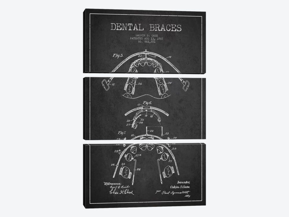 Dental Braces Charcoal Patent Blueprint by Aged Pixel 3-piece Canvas Artwork
