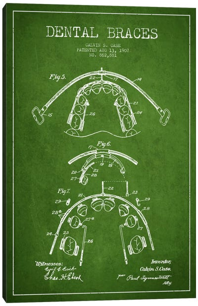 Dental Braces Green Patent Blueprint Canvas Print #ADP1795