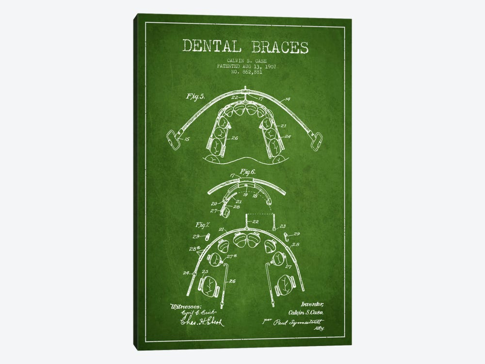Dental Braces Green Patent Blueprint by Aged Pixel 1-piece Canvas Art Print