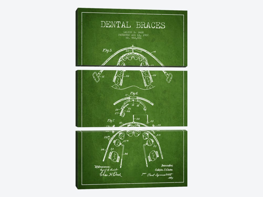 Dental Braces Green Patent Blueprint by Aged Pixel 3-piece Canvas Art Print
