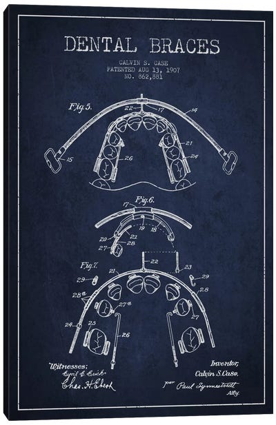 Dental Braces Navy Blue Patent Blueprint Canvas Print #ADP1796