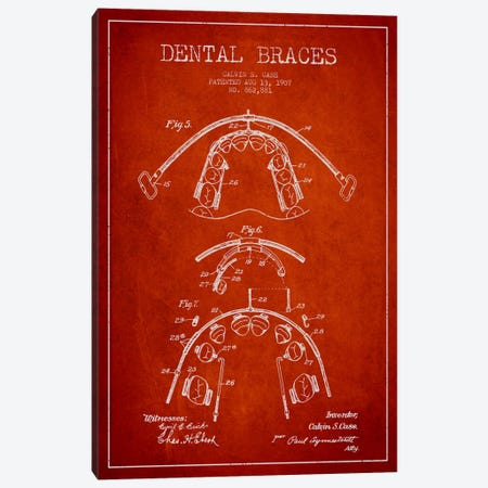 Dental Braces Red Patent Blueprint Canvas Print #ADP1797} by Aged Pixel Canvas Print